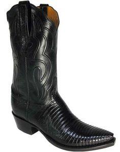 Lucchese Classic Men's Black Lizard Boots