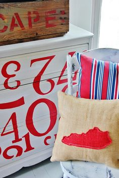 Ok, isn't this fun? Learn how to paint a dresser with numbers with KariAnne from 'Thistlewood Farm'. The contrast with the red paint on white makes this pop with a modern flavor. Love it!Dresser makeovers-9