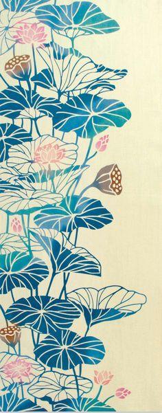 Japanese Tenugui Towel Fabric Lotus Flower par JapanLovelyCrafts