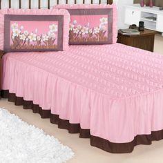 29e60438d2 Kit Colcha Casal Padrão Rosa Matelada Com Travesseiro Estampado Floral 5  Peças