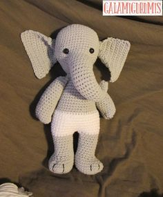 Free crochet pattern for girl elephant! Free amigurumi pattern for elephant doll and dress. The pattern comes with clear instructions and photos. Crochet this little elephant for all your loved ones! Crochet Snowman, Crochet Bunny, Cute Crochet, Crochet Animals, Crochet Toys, Crochet Things, Crochet Elephant Pattern, Crochet Amigurumi Free Patterns, Crochet Stitches Patterns