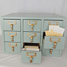 Spotted: Valspar paint in Green Water Awesome transformation of an old library card file cabinet; home office Decor, Diy Furniture, Painted Furniture, Library Card Catalog Cabinet, Home Furniture, Home Decor, Filing Cabinet, Furniture Inspiration, Library Card Catalog
