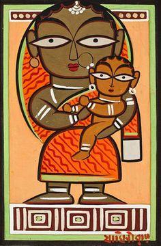 Mother and child: Jamini Roy Madhubani Art, Madhubani Painting, Indian Folk Art, Indian Artist, Indian Art Paintings, Abstract Paintings, Abstract Art, Jamini Roy, Worli Painting