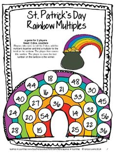 St. Patrick's Day Math Games Fourth Grade by Games 4 Learning - NO PREP collection of printable math games contains 14 games.$