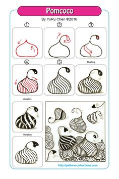 Pomcoco Step by step zentangle pattern Zentangle Drawings, Doodles Zentangles, Doodle Drawings, Tangle Doodle, Zen Doodle, Doodle Art, Doodle Patterns, Zentangle Patterns, Doodle Borders