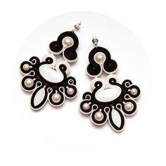 Black white chandelier earrings soutache. Statement by MANJApl