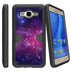 [Samsung Galaxy J1 (2016), Amp 2, and Express 3 Case][MAX DEFENSE]- Hard Sleek Shell, Silicone Bumper with Kickstand and Holster by Miniturtle® - Heavenly Stars