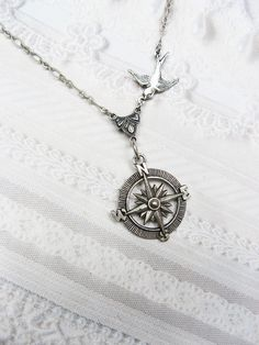 Silver Compass Necklace  Silver Guidance  Steampunk by birdzNbeez, $18.00