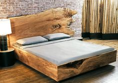 CUSTOM SLAB WOOD BEDS Materials:  solid timber slab Dimensions:  per style - please inquire Options:  *This piece is custom made to order - please inquire as to fabric and style options.
