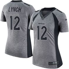 1688ea742 Nike Broncos  12 Paxton Lynch Gray Women s Stitched NFL Limited Gridiron  Gray Jersey And  . Denver ...
