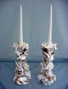 START WITH 2 WOODEN CANDLESTICKS & START GLUEING -Sharlottes Reflections: Shells, Shells, and more Shells