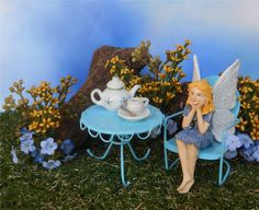 Spring Flower Fairy Garden Mini Tea Party