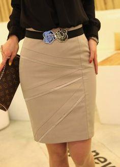 Khaki Pleated OL Feel Fashion Short Skirts