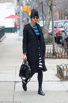 Say it in stripes! Karlie Kloss, 24, stepped out in New York looking effortlessly cool on ...