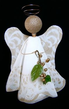 When it comes to homemade Christmas crafts, there's nothing quite as uplifting than a sparkly golden angel. In a few easy steps, you can take a piece of fabric and transform it into a Christmas decoration that will look splendid in any room. You can also use this angel craft as a tree topper or table decoration.