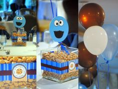 I'm so excited to share this cookie monster birthday party with you. I styled this party for Sebastian birthday and I'm so in love with . 1st Birthday Themes, Monster Birthday Parties, Baby Boy Birthday, 2nd Birthday Parties, Birthday Ideas, Monster Centerpieces, Birthday Party Centerpieces, Balloon Centerpieces, Elmo And Friends