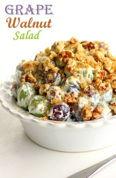 This Grape Walnut Salad is a vintage recipe that's always a hit at potlucks! http://goo.gl/Hm73s3