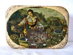 Italian Vintage tin storage sewing box candy box cake storage tin