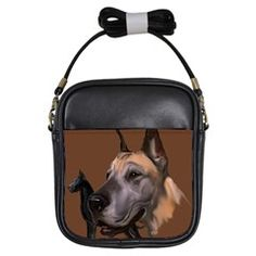 Great Dane Fawn And Black Girls Sling Bag
