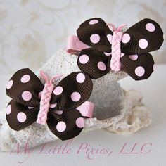 Brown and pink butterfly clips