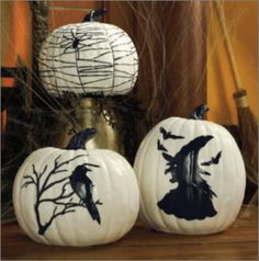 Halloween Pumkins - Albino Pumkins with painted art instead of Jack-O-Laterns.
