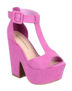 Orchid Suede T-Strap Peep Toe Chunky Heel Platform Sandal
