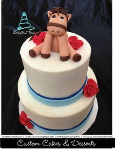 Cute Horse Figure Birthday Cake