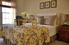 Beautiful Yellow Toile, Brown Gingham and White Bedroom from Pat at BPM