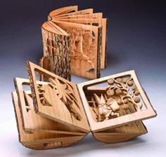 wooden book. I would love to get my hands on one of these! Beautiful wood working!