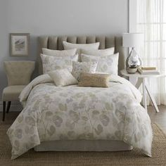 Bring nature-inspired style to your master suite or guest room with this lovely cotton comforter set, showcasing a softly hued botanical motif reversing to tonal tan stripes.     Product: Full: 1 Comforter, 1 bed skirt and 2 standard shamsQueen: 1 Comforter, 1 bed skirt and 2 standard shamsKing: 1 Comforter, 1 bed skirt and 2 king shamsCalifornia King: 1 Comforter, 1 bed skirt and 2 king shamsConstruction Material: 100% Cotton cover and 100% polyester fillColor: Gold, grey, and ...