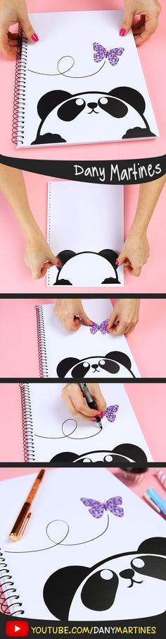 [ Make yourself a cute cute panda notebook cover cute kawaii cute back to DIY do it yourself classes Notebook Diy, Stationary Notebook, Notebook Covers, Journal Covers, Diy And Crafts, Paper Crafts, Beautiful Notebooks, Kawaii Diy, Diy Back To School
