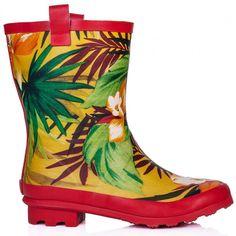 ANTONIA Festival Welly Wellington Wide Calf Rain Boots - Red Flower