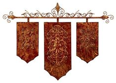 Copper Finish Medieval Banner Wall Art NEW