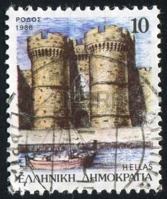 Castle of the Knights, Fortifications of Rhodes (Byzantine/Hospitaller/Ottoman/Italian period) stamp printed by Greece, circa 1988 Greece Pictures, Stamp Printing, Fortification, Rhodes, Byzantine, Postage Stamps, Knights, Period, Ottoman