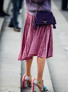 Funky heels! velvet skirt