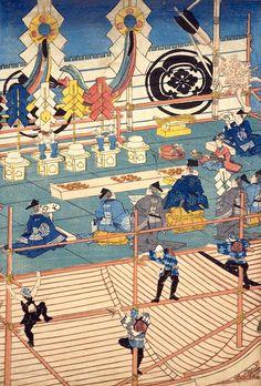 """Carpenter upper building figure"" part (three generations Utagawa Kunasaki) Japanese Drawings, Japanese Prints, Traditional Japanese Art, Kuniyoshi, Japanese Painting, Short Trip, Japan Art, Japanese Culture, Woodblock Print"