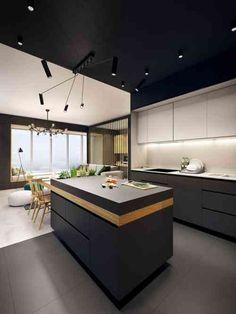 Ilot central design en bois et noir mat