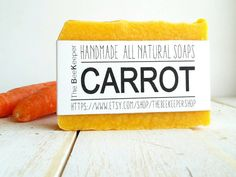 Carrot Soap A deeply moisturizing and nourishing soap bar!  https://www.etsy.com/listing/235113115/carrot-soap-organic-soap-unscented-soap