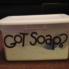 Homemade laundry detergent and it is easier than you think! 1box of Borax, 1 box of Arm & Hammer Super washing powder, 4 - 1 lb boxes of Arm & Hammer baking soda, 2 bars Feldts Nampa soap (in the laundry isle), 1 3 lbs container of OxyClean (not required but helps with stains) and 1 large bottle of Purex scent booster (just to make it smell good). Hardest part is grating the bar soap, but you just mix everything together. Only use 2 tablespoons when you wash clothes!