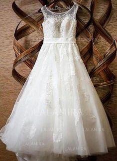 A-Line Princess Scoop Floor-Length Court Train Wedding Dresses With Sash  Beading Appliques Lace 1ca849b27791