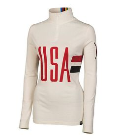 Take a look at this Cream Silk-Merino Blend USA Zip Neck Pullover by Neve on #zulily today!