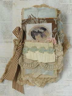 MIXED MEDIA FABRIC COLLAGE BOOK OF LITTLE GIRLS AND ROSES