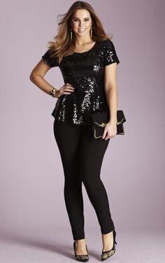 pantalon & top en negro (XL)