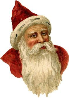 Victorian scrap, die cut, old-fashioned, Christmas craft, scrapbooking material, Father Christmas, Santa Claus, Saint Nicholas,Weihnachtsmann, head only