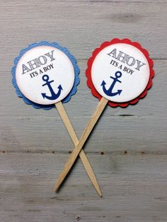 12 Ahoy its a boy baby shower Cupcake Toppers by papermeblossom, $12.00
