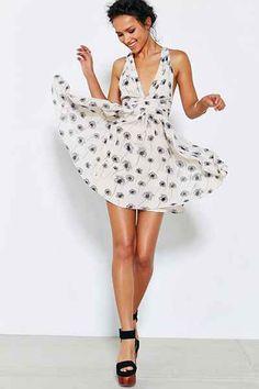 Kimchi Blue Chiffon Dandelion Halter Dress - Urban Outfitters