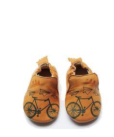 Zapatitos de cuero con motivos de bicicletas / Leather Baby Shoes with Bike motif
