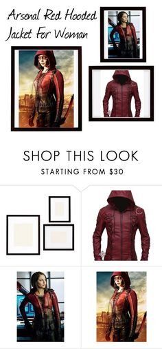 """""""Arsenal Red Hooded Jacket For Woman"""" by celebsclothing ❤ liked on Polyvore featuring Pottery Barn"""