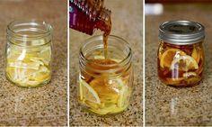 Jarabe casero para tratar la tos IngredientesRecipiente de vidrio,   Limón en rodajas-Miel de abeja pura-Jengibre en rodajas-Agua hirviendo-Preparación Combinar las rodajas de limón, la miel de abejas y el jengibre en rodajas en el recipiente de vidrio.Cerrar el recipiente y colocarlo en la nevera, hasta que se forme una especie de gelatina. A la hora de servir, se debe añadir una cucharadita en una taza y se vierte agua hirviendo sobre ella.Conservar en nevera 2-3 meses.