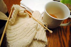 knitting and tea, the perfect combo